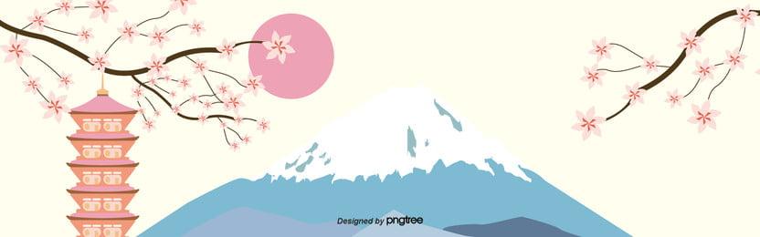 清泉の塔楼桜の富士山図 , 塔の塔, 富士山, 桜の花 背景画像