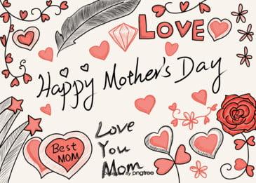母の日の楽しいスケッチ漫画のアイデアの背景 Happy Mother S 背景画像