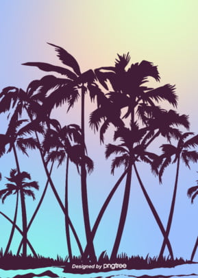 gradient hand painted coconut grove silhouette summer atmosphere background , Silhouette, Summer, Magnificent Background image