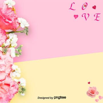 母親節康乃馨黃粉間隔色淘寶電商背景 , Love, 康乃馨, 康乃馨背景 背景圖片