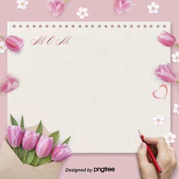 Mothers Day Tulip Stationery Pink Taobao E-commerce Background, Love, Envelope, Mothers Day, Background image