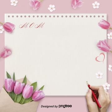 母親節鬱金香信紙粉色淘寶電商背景 , Love, 信封, 母親節 背景圖片