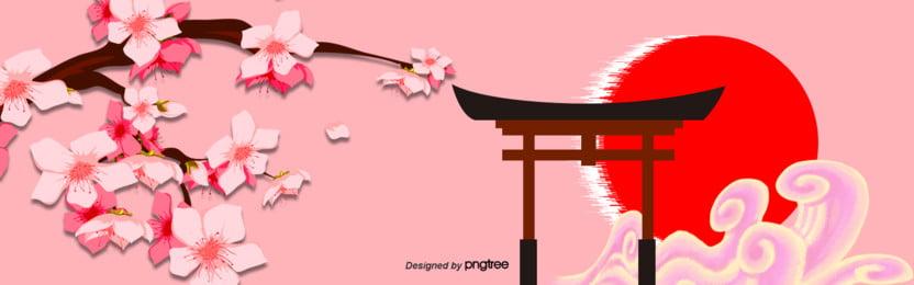 3 d立体色の日本桜の赤い日のバナー , 3 D立体buner, 古塔, 日本 背景画像