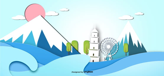 3 d立体日本旅行富士山ペーパーバック , 3 D, 3 D立体建築, 切り抜き立体 背景画像