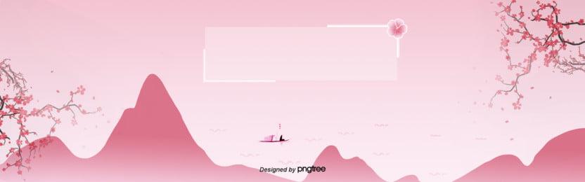ピンクの桜遠山の孤舟の背景 , 孤舟, 桜の花, ピンク 背景画像