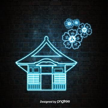 neon lantern style of japanese characteristic luminescent architecture , Luminescence, House, Japanese Landmark Architecture Background image