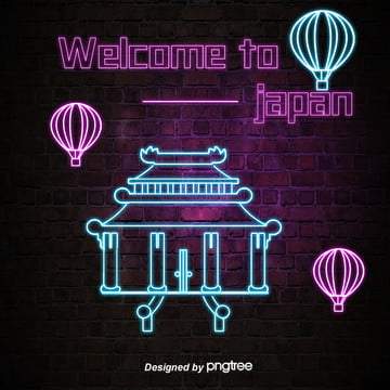 neon lantern style of japanese characteristic luminescent architecture , Luminescence, Luminous Font, House Background image