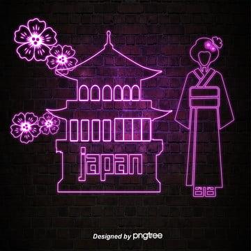 日本のネオン風に輝くランドマーク建築 , 発光する, 発光建築, 古塔 背景画像