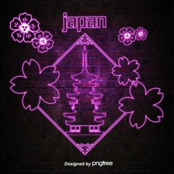 日本のネオン風に輝くランドマーク建築 , 発光する, 発光字, 発光建築 背景画像