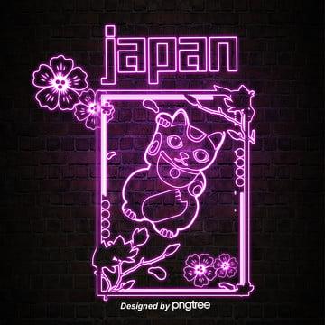 日本のネオンのスタイルが光って招き猫 , 発光する, 発光字, 招き猫 背景画像