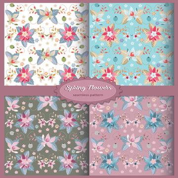 봄 꽃 원활한 패턴 , 꽃, 꽃, 원활한 배경 이미지