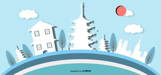 3d stereo japanese landscape building wind banner Vent De Papier Image De Fond