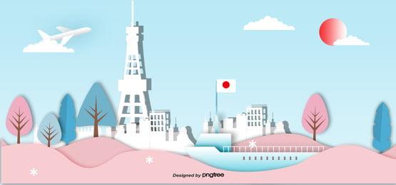3 d立体日本のランドマーク建築のペーパーカット , 切り紙風, 古塔, 地印建築 背景画像