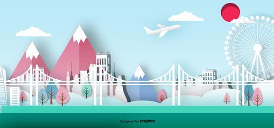 3 d立体日本のランドマーク建築のペーパーカット , 切り紙風, 地印建築, ビル 背景画像