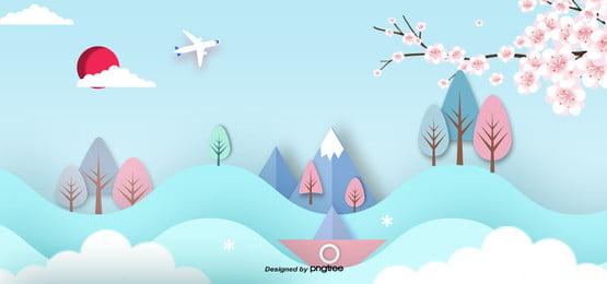 3 d立体日本ランドマーク建築用ペーパーカッター , 切り紙風, 富士山, 桜の花 背景画像