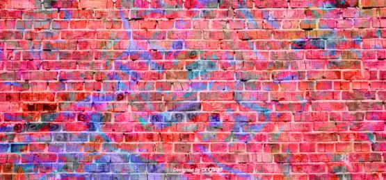 parede de tijolo vermelho e fundo de cor de tinta , Creative, Color, Abstrato Imagem de fundo