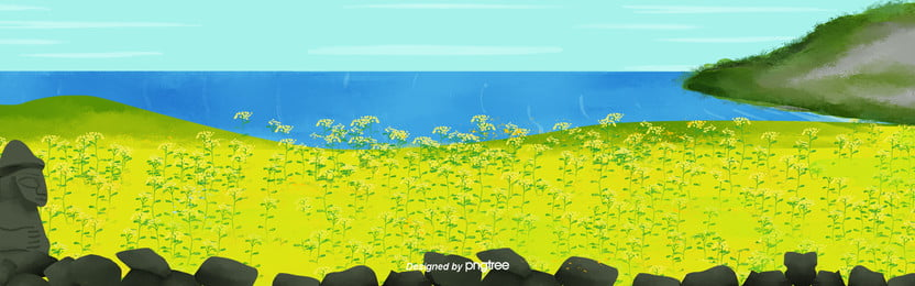 수채 제주도 봄 유채꽃 배경 , 여행하다, 봄철, 유채씨 배경 이미지