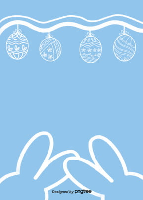 Linear Background Of Lovely Easter Eggs In Wave, Sky Blue, Linear Rabbit, Easter Linear Egg, Background image