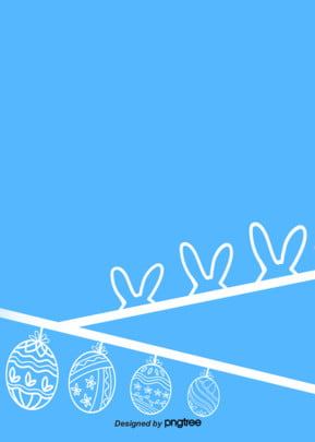 Sky Blue Linear Simple Arrangement Lovely Rabbit Arrangement Easter Egg Background, Triangle, Sky Blue, Arrangement Of Rabbit Ears, Background image