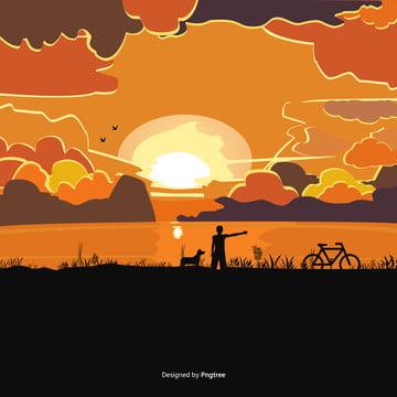 夕暮れの川沿いの犬 , 雲, 空, 日が沈む 背景画像