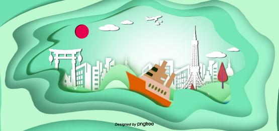 3d stereo japanese landscape building wind banner 3d Tokyo Papier Image De Fond
