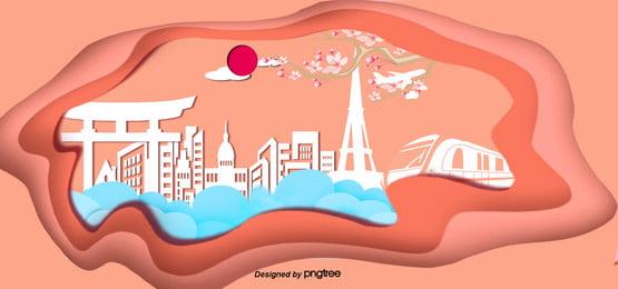 3 chiều 3 chiều gió banner cắt giấy nhật bản xây dựng cột mốc , 3 Chiều, Tháp Tokyo, Cắt Giấy Ảnh nền
