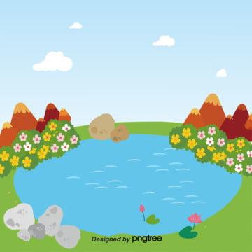 夏には花と石の池があります , 夏, 夏の小池, 水 背景画像