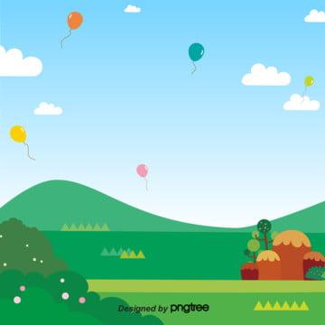 風船が空いっぱいに飛んでいます青い空と緑の芝生の夏です , 雲, 夏, 晴れた夏 背景画像