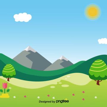 夏の山の美しい芝生の数は花です , 夏, 山, 太陽 背景画像