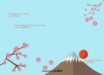 blue fuji mountain sunset background, Solo, Monte Fuji, Cereza Imagen de fondo