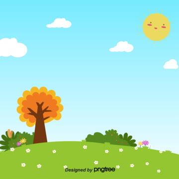 青い空と白い雲の太陽と緑の芝生の色の空 , 太陽, 晴れた空, 木 背景画像