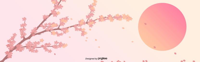 桜が舞い落ちる赤い日と夕日の景色 , 日本, 桜の花, ピンク 背景画像