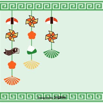 子供の日の緑のデコレーションカードのポスターの背景 , 子供の日, 寿司, 扇子 背景画像