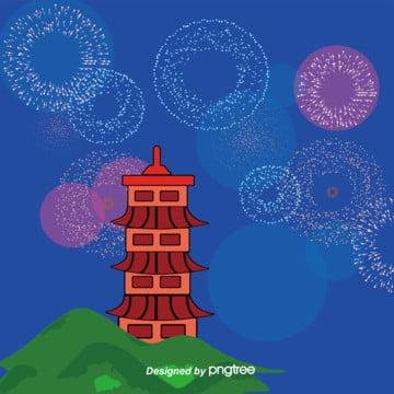 日本式手描きイラスト、ピンク花火の背景 , 塔, 山, 手絵 背景画像
