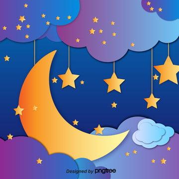 切り紙星空月雲 , 雲の輪, 幾何学, かわいい 背景画像