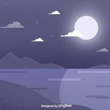 紫の夜の星空の背景 , 夜の夜, 星空, 川の流れ 背景画像