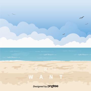 ビーチかもめの空の背景 , 雲, 空, 砂浜 背景画像