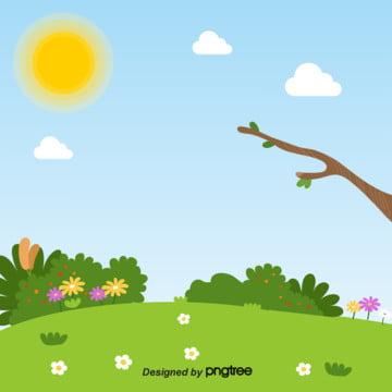 夏は風が穏やかで美しい芝生の花の枝 , 萌える枝, 可愛い花, 夏 背景画像