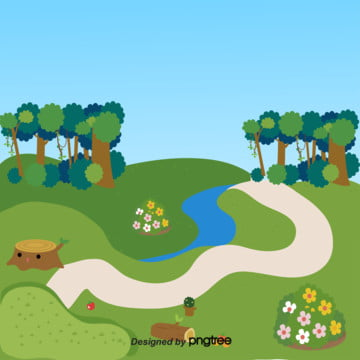 青い空がうねる小道と小さな池の夏 , 夏, 山間の小川, 晴れた夏 背景画像