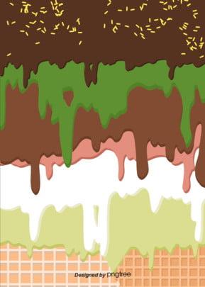 茶色の抹茶チョコレートの流れの背景 , アイスクリーム, 夏の日, チョコレート 背景画像