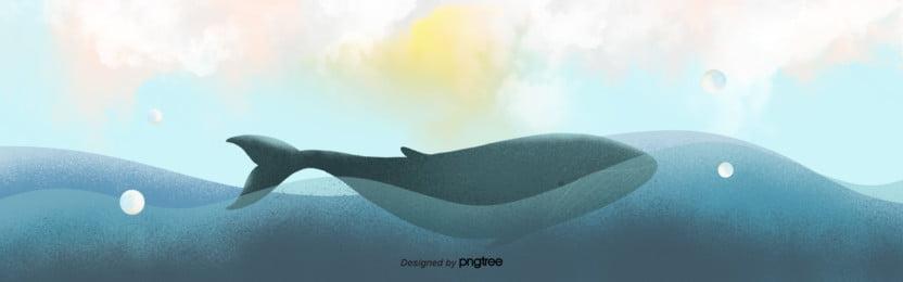 파란색 해양 고래 배경 , 구름., 하늘, 손잡다 배경 이미지