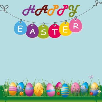 ईस्टर के दिन 2019 , चलनेवाली टोकरी, रंगीन अंडे, ईस्टर कार्ड पृष्ठभूमि छवि
