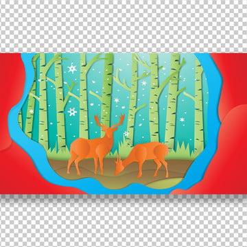 हिरण जंगल में कागज कला , सार, के खिलाफ, पशु पृष्ठभूमि छवि