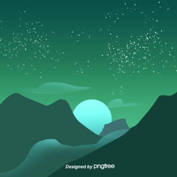 綠色簡約唯美星空向量背景 , 星空, 向量, 簡約 背景圖片