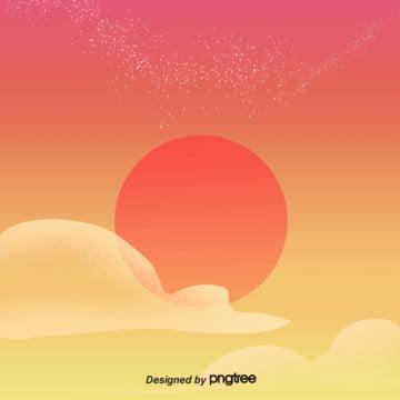 夕暮れの星空ベクトルの背景 , 星空, オレンジ色, 簡素な約束 背景画像