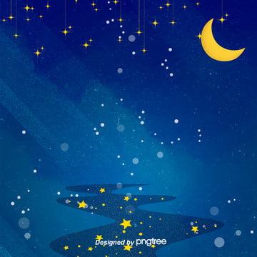 唯美浪漫夜星空星月淘宝电商背景 , 唯美, 夜の夜, 小さな星 背景画像