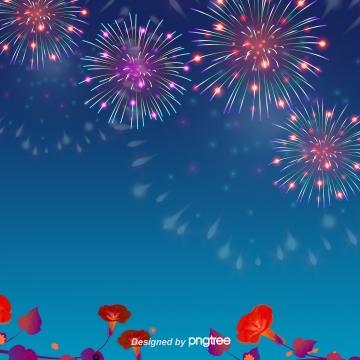 青い夏の花火の背景 , 夏の花火, 夜の夜, 空 背景画像