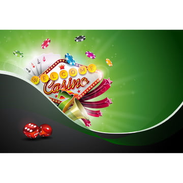 casino illustration with poker cards and playing chips on green background  vector gambling design for invitation or promo banner with dice , Casino, Gambling, Background Background image