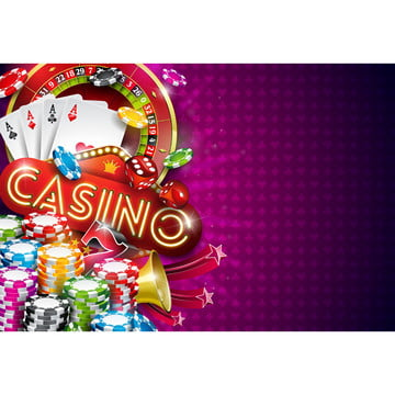 casino illustration with roulette wheel and playing chips on violet background  vector gambling design with poker cards and dices for invitation or promo banner , Casino, Gambling, Background Background image