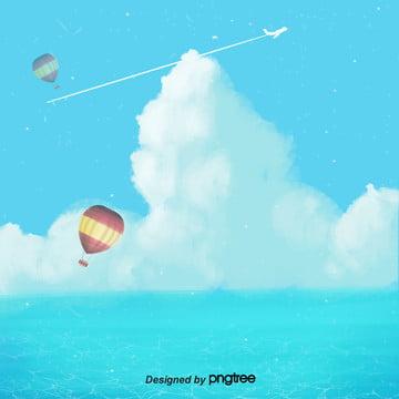 さわやかな夏の空と白い雲の飛行機の熱気球の海の電気商の背景 , 海, さわやかな夏の日, 熱気球 背景画像